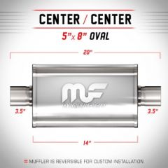 """Race silencer 3.5"""" stainless L=356mm"""
