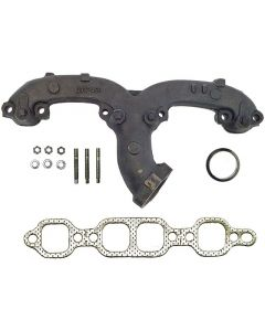Chevy SB cast manifold left angled outlet