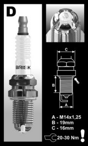 Brisk LGS spark plug Type R FN2 stock engine
