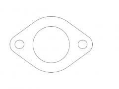 """Flange 2"""" 2 bolt holes. 89mm C-C. 10mm steel."""