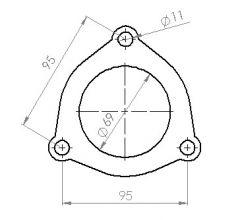Downpipeflange 3-b, 69mm hole