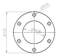 Downpipeflange 6-bolt, 66mm hole