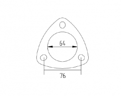 "Flange 2.5"" 3-bolt, USA standard, steel"
