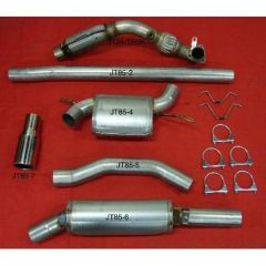 """JT Volvo 850 2wd 3"""" turboback 2 silencer small welded flange downpipe 100CPSI cat"""