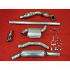 """JT Volvo S/V70 97-00 2wd 3"""" turboback 2 silencer welded flange 100CPSI cat"""