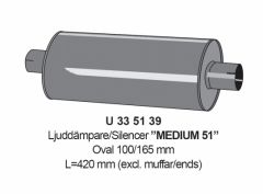 "Vaimennin 2"" Medium 51 L=420mm"