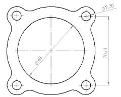 Downpipeflange 4-bolt 70mm  bolt pattern, 65mm inside hole